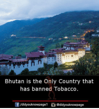 Memes, Bhutan, and 🤖: Bhutan is the Only Country that  has banned Tobacco  /didyouknowpage  @didyouknowpage