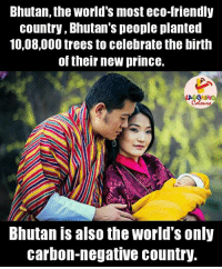 Friends, Prince, and Tree: Bhutan, the World's most eco-friendly  country, Bhutan's people planted  10,08,000 trees to celebrate the birth  of their new prince.  Bhutan is also the World's only  carbon-negative country. About Bhutan.. :)