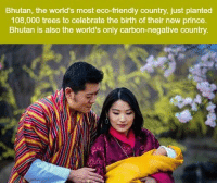 Memes, Bhutan, and 🤖: Bhutan, the world's most eco-friendly country, just planted  108,000 trees to celebrate the birth of their new prince.  Bhutan is also the world's only carbon-negative country. https://t.co/q4us8F5Mla