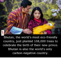 Friends, Memes, and Prince: Bhutan, the world's most eco-friendly  country, just planted 108,000 trees to  celebrate the birth of their new prince.  Bhutan is also the world's only  carbon-negative country