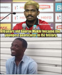 Memes, Old, and 🤖: Bi  ro  TrollFootball  16years old  6yearsoliGouravMukhilbecame the  youngestgoalscorer in ISLhistory Why you always lyin? 😂👏🎶
