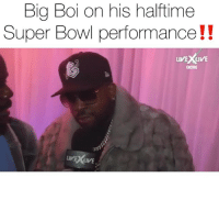 "Friends, Memes, and Super Bowl: Bia Boi on his halftime  Super Bowl performance!!  ENCORE  VE XLIVE bigboi talking about his superbowl halftime performance as makes it clear he's ""for the people""‼️( vía @livexlive ) Follow @bars for more ➡️ DM 5 FRIENDS"