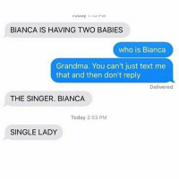 Grandma, Lol, and Memes: BIANCA IS HAVING TWO BABIES  who is Bianca  Grandma. You can't just text me  that and then don't reply  Delivered  THE SINGER. BIANCA  Today 2:53 PM  SINGLE LADY AH HAHAHA lol hilarious cleanaccount cleanmemes hahaha cleanfunnyme