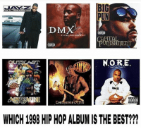 Dmx, Memes, and Wshh: BIC  PUN  DMX  RON.ORE  EYISOEI  Confessions Offirc  WHICH 1998 HIP HOP ALBUM IS THE BEST!? These classic hiphop albums turn 20 years old this year! Which one do you think is the best? 🔥🤔 WSHH