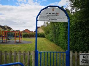 Children, Dogs, and Reddit: BICESTER  TOWN COUNCIL  PLAY AREA 51  Children Aged Upto12Years  Children play at own risk. Please ensure children are  adult at all times. Bicester Town Council cannot be held responsible for any injury  sustained or loss of belongings whilst using or attending this play  supervised by a responsible  area.  No Dogs AlIlowed  To report damage or faults please contact 01869 252915 or enquires@bicester.gov.uk  BICESTER TOWN COUN  NO  BALL  GAME  By Order of the Town Get guys I did some recon today, it appears to be just play equipment. There wasn't any guards as I was expecting, think we are all safe come September