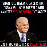 MORON ALERT  Dean James III%: BIDEN TOLD HISPANIC LEADERS THAT  OBAMA WILL MOVE FORWARD WITH  AMNESTY  WITH OR WITHOUT  CONGRESS  NumbersUSA  LIKE IF YOU AGREE THIS IS UNACCEPTABLE MORON ALERT  Dean James III%