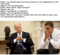 "Joe Biden: Biden: You should order the Secret Service to use 'Babyhands' as his  code narne.  Obama: I'm not doing that,  Biden: What about 'Agent Orange'?  Obama: No, Joe.  Biden: ""Commander in Cheetoh'?  Obama: I'm not getting involved.  Biden: Why not? You got 2 months left and zero fucks to give, man.  You should get weird with it."