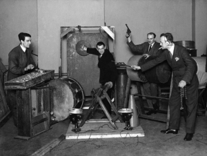 Love, Tumblr, and Blog: bidoof:  the-macra:  philtardis:  citizenscreen: #BBC Sound Effects department, 1927  Noise Night with the boys   love the guy just straight up holding a gun   he's there to kill anyone who tries making any of the forbidden sound effects
