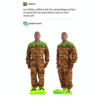 Memes, Minecraft, and Military: bidoof  us military uniform but the camouflage pattern  is based off the grass block texture from  minecraft  guttercrows I still play minecraft fight me - Max textpost textposts