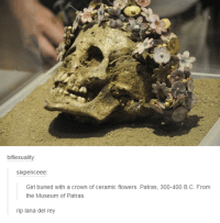 Sixpenceeee: biflexuality:  SIXpenceee  Girl buried with a crown of ceramic flowers. Patras, 300-400 B.C. From  the Museum of Patras.  rip lana del rey