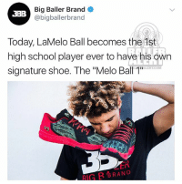 "LavarBall's youngest son, LaMeloBall, gets his own sneaker: Big Baller Brand  @bigballerbranod  3BB  Today, LaMelo Ball becomes the Ast  high school player ever to have his own  signature shoe. The ""Melo Ball 1  ALERTCOM  ER  RIG B BRAND LavarBall's youngest son, LaMeloBall, gets his own sneaker"