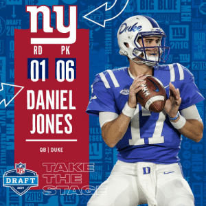 With the #6 overall pick in the 2019 @NFLDraft, the @Giants select QB Daniel Jones! #NFLDraft (by @Bose) https://t.co/ipB3kA18id: BIG  BLUE  DRA  RET  DRAFT  2010  RD PK  01 06  DANIEL  JONES  2019  4C  SEE  QB DUKE  TURE ↓  DRAFT  2019 With the #6 overall pick in the 2019 @NFLDraft, the @Giants select QB Daniel Jones! #NFLDraft (by @Bose) https://t.co/ipB3kA18id