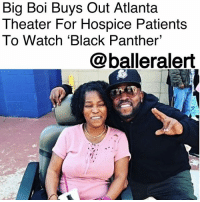 "Community, Family, and Food: Big Boi Buys Out Atlanta  Theater For Hospice Patients  To Watch 'Black Panther  @balleralert Big Boi Buys Out Atlanta Theater For Hospice Patients To Watch 'Black Panther' - Blogged by: @RaquelHarrisTV ⠀⠀⠀⠀⠀⠀⠀⠀⠀ ⠀⠀⠀⠀⠀⠀⠀⠀⠀ BigBoi gave Atlanta hospice patients a big surprise when he took them to see a special screening of the 'Black Panther.' ⠀⠀⠀⠀⠀⠀⠀⠀⠀ ⠀⠀⠀⠀⠀⠀⠀⠀⠀ This Friday, Big Boi's company Celebrity Trailers bought out all the seats in Stonecrest Theaters for the patients of Loving Arms Hospice in DeKalb County. And that's not all, he also paid for the patients' transportation to and from and the theater as well as their food, according to Loving Arms employees. ⠀⠀⠀⠀⠀⠀⠀⠀⠀ ⠀⠀⠀⠀⠀⠀⠀⠀⠀ ""It touches his heart because his family are on hospice as well,"" explained Celebrity Trailers co-owner Janice Ahmed. ""And he wanted to get his family out to go ahead and still enjoy life."" ⠀⠀⠀⠀⠀⠀⠀⠀⠀ ⠀⠀⠀⠀⠀⠀⠀⠀⠀ Big Boi shared his joy for the film and thanked his company for the collaborative effort on Instagram. ""Every one loved the film! Thanks to my team for making all this possible BlackPanther GodIsGreat."" ⠀⠀⠀⠀⠀⠀⠀⠀⠀ ⠀⠀⠀⠀⠀⠀⠀⠀⠀ Big Boi is the latest celebrity to treat the community to a screening of Black Panther, which has grossed $704 million globally. He now joins KendrickLamar, LilYachty, Offset, OctaviaSpencer, IssaRae, TraceeEllisRoss, ReginaKing and more."