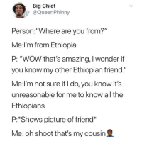 "Blackpeopletwitter, Ethiopians, and Wow: Big Chief  @QueenPhinny  Person.:""Where are you from?""  Me:l'm from Ethiopia  P: ""WOW that's amazing, I wonder if  you know my other Ethiopian friend.""  Me:l'm not sure if I do, you know it's  unreasonable for me to know all the  Ethiopians  P:*Shows picture of friend*  Me: oh shoot that's my cousin2 <p>MET AN EAST AFRICAN FROM THE WEEKEND SHAWTY FLEEKIN (via /r/BlackPeopleTwitter)</p>"