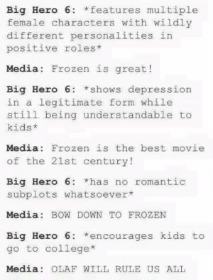 Children's moviesadvice-animal.tumblr.com: Big Hero 6: *features multiple  female characters with wildly  different personalities in  positive roles*  Media: Frozen is great!  Big Hero 6: *shows depression  in a legitimate form while  still being understandable to  kids*  Media: Frozen is the best movie  of the 21st century!  Big Hero 6: *has no romantic  subplots whatsoever*  Media: BOW DOWN TO FROZEN  Big Hero 6: *encourages kids to  go to college*  Media: OLAF WILL RULE US ALL Children's moviesadvice-animal.tumblr.com