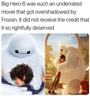 Big Hero: Big Hero 6 was such an underrated  movie that got overshadowed by  Frozen. It did not receive the credit that  it so rightfully deserved