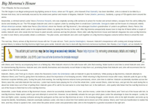 """me irl: Big Momma's House  From Wikipedia, the free encyclopedia  The film begins in an illegal underground dog-fighting arena in Korea, where an FBI agent, John Maxwell (Paul Giamatti), has been identified. John is ordered to be killed by a  Korean mob boss, but is eventually rescued by his undercover partner and master of disguise, Malcolm Turner (Martin Lawrence). Suddenly, a group of FBl agents storm around the  arena.  Meanwhile, a criminal named Lester Vesco (Terrence Howard), who was originally serving a life sentence in prison for murder and armed robbery, escapes from his cell by killing the  doctor and stealing his car. The FBI assigns Malcolm and John to capture Lester by sending them to small-town Cartersville, Georgia to stake out the house of a heavyset, elderly  African American woman, Hattie Mae Pierce (Ella Mitchell; whom her friends call """"Big Momma""""), the estranged Southern grandmother of Lester's ex-girlfriend, Sherry Pierce (Nia  Long), who supposedly aided Lester in his original bank robbery by giving him the key to the vault. After Big Momma unexpectedly leaves town to help her ill friend within a couple of  weeks, Malcolm and John sneak into her house to plant security cameras and tap the phones. Sherry later calls Big Momma's house and Malcolm disguises his voice as Big Momma  in order to lure Sherry and possibly obtain a confession. The plan works, and Malcolm and John work together on a Big Momma disguise costume before Sherry's arrival the next  day.  The next day, Sherry arrives at Big Momma's house with her 10-year-old son, Trent (Jascha Washington). However, Malcolm's inexperience with cooking and strange behavior  prompt Sherry to believe that Big Momma might have gone senile. Malcolm also has to deal with Big Momma's lecherous boyfriend, Ben Rawley (Carl Wright), act as midwife for  Rit  Ma  This article's plot summary may be too long or excessively detailed. Please help improve it by removing unnecessary details and making it  Aft  h"""