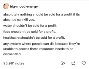 Profit isn't evil. If these weren't sold for profit, there would be much less incentive to invest to make them more accessible/cheap to the public.: big-mood-energy  absolutely nothing should be sold for a profit if its  absence can kill you.  water shouldn't be sold for a profit.  food shouldn't be sold for a profit.  healthcare shouldn't be sold for a profit.  any system where people can die because they're  unable to access these resources needs to be  dismantled.  95,981 notes Profit isn't evil. If these weren't sold for profit, there would be much less incentive to invest to make them more accessible/cheap to the public.