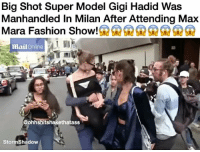 """Who TF R U❓❗️❓❗️After walking in the MaxMara runway show, GigiHadid with BellaHadid, her sis and fellow runway slayer, made their way through a crowd of people, being gracious enough to even pose for a selfie, the supermodel forced to defend herself after she was lifted in the air by serial prankster VitaliiSediuk """"Let go of me,"""" Gigi shouted, clearly in a panic. """"Who the fuck are you?!?! You piece of shit!"""" And proceeded to elbow him in the face. After the man dropped her, Gigi attempted to go after him, but was restrained by someone who appears to be on her security detail. The one ZaynMalik is lucky enough to call bae asked, """"Can you go find that guy?"""" before getting into her car. pressplay model milan fashionshow wayment kendall kendalljenner supermodel fashion hoodclips hoodvines kardashians: Big Shot Super Model Gigi Hadid Was  Manhandled In Milan After Attending Max  Mara Fashion Show SR R R  mailOnline  @ohhsbitshakethatass  StormShadow Who TF R U❓❗️❓❗️After walking in the MaxMara runway show, GigiHadid with BellaHadid, her sis and fellow runway slayer, made their way through a crowd of people, being gracious enough to even pose for a selfie, the supermodel forced to defend herself after she was lifted in the air by serial prankster VitaliiSediuk """"Let go of me,"""" Gigi shouted, clearly in a panic. """"Who the fuck are you?!?! You piece of shit!"""" And proceeded to elbow him in the face. After the man dropped her, Gigi attempted to go after him, but was restrained by someone who appears to be on her security detail. The one ZaynMalik is lucky enough to call bae asked, """"Can you go find that guy?"""" before getting into her car. pressplay model milan fashionshow wayment kendall kendalljenner supermodel fashion hoodclips hoodvines kardashians"""