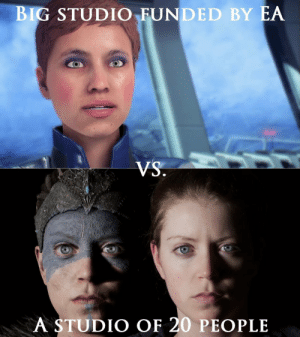 Game, Games, and A Game: BIG STUDIO FUNDED BY EA  A STUDIO OF 20 PEOPLE Have to scoff at people saying AAA games arent sustainable when an indie dev team makes a game like Hellblade and then sell it for $30