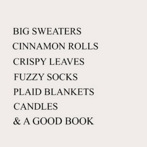 sweaters: BIG SWEATERS  CINNAMON ROLLS  CRISPY LEAVES  FUZZY SOCKS  PLAID BLANKETS  CANDLES  & A GOOD BOOK