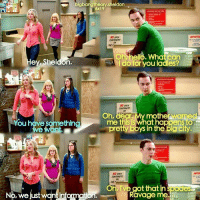Sheldonisms: bigbangtheory sheldon  6x19  On hello. What can  ey Sheldon.  do for you ladies?  Oh, dear. My mother warme  me this at happens to  ou have somethin  pretty boys in the big city.  e want.  NO apEN  Oh, I've got that in spede  Ravage me  No,