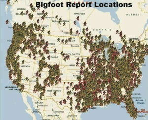 Bigfoot, Chihuahua, and Huh: Bigfoot Report Locations  BRITISH  co  ALBE  MANITOBA  QUEBE C  SASKA  ary  Van  ONTARIO  Regin  trea  OTA M  marck  Tor  OMING  ou  NEBR  NEVADA  0  s Ve  T E  Los Angele  San Dieg  NEW MEXICO  avannah  ksonvile  Atlantic  Ocean  SONORA  uston  uahua  An  CHIHUAHUA  Nassau gallusrostromegalus: cellarspider:  zeekist:  meatyogre:  mapsontheweb: Bigfoot Report Locations.  this jerk crossed the border into Maine, went to the outlets in Kittery, and turned right back did you think that was all Maine had to offer, big guy huh HUH  YOU TELL 'EM  The map isn't complete- maybe he likes to hang out on the coast!