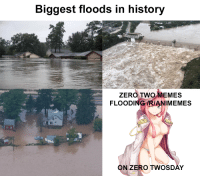 Anime, Memes, and Zero: Biggest floods in history  ZERO TWO MEMES  FLOODING IRIANIMEMES  ONZERO TWOSDAY
