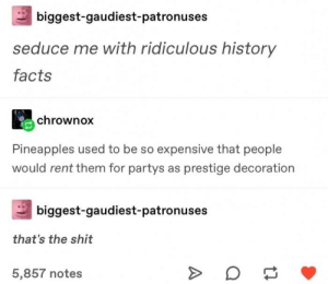 Facts, Funny, and Shit: biggest-gaudiest-patronuses  seduce me with ridiculous history  facts  chrownox  Pineapples used to be so expensive that people  would rent them for partys as prestige decoration  biggest-gaudiest-patronuses  that's the shit  5,857 notes