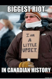 They discontinued Maple Donuts at Tim Horton's today.: BIGGEST RIOT  I AM  LITTLE  UPSET  IN CANADIAN HISTORY  Memes. COM They discontinued Maple Donuts at Tim Horton's today.