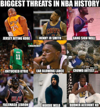 BIGGEST THREATS IN NBA HISTORY  JERSEY BITING KOBE  HENNY JR SMITH  GANG SIGN WALL  @NBAMEMES  TH  IND 97 459  UNTUCKED KYRIEEAR BLOWING LANCECROWD ARTEST  SAC  EA  FACEMASK LEBRON  HOODIE MELO  BURNER ACCOUNT KD