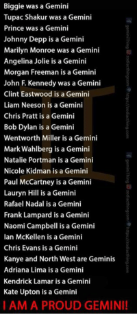 Ain't nothing like a Gemini!  Don't forget to visit our Gemini store: https://zodiacthing.com/store/gemini and pick out a gift for your birthday: Biggie was a Gemini  Tupac Shakur was a Gemini  Prince was a Gemini  Johnny Depp is a Gemini  Marilyn Monroe was a  Gemini  Angelina Jolie is a Gemini  Morgan Freeman is a Gemini  John F. Kennedy was a Gemini  Clint Eastwood is a Gemini  Liam Neeson is a Gemini  Chris Pratt is a Gemini  Bob Dylan is a Gemini  Wentworth Miller is a Gemini  Mark Wahlberg is a Gemini  Natalie Portman is a Gemini  Nicole Kidman is a Gemini  Paul McCartney is a Gemini  Lauryn Hill is a Gemini  Rafael Nadal is a Gemini  Frank Lampard is a Gemini  Naomi Campbell is a Gemini  Ian McKellen is a Gemini  Chris Evans is a Gemini  Kanye and North West are Geminis  Adriana Lima is a Gemini  Kendrick Lamar is a Gemini  Kate Upton is a Gemini  I AM A PROUD GEMINI! Ain't nothing like a Gemini!  Don't forget to visit our Gemini store: https://zodiacthing.com/store/gemini and pick out a gift for your birthday