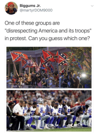 "America, Blackpeopletwitter, and Protest: Biggums Jr.  @martyrDOM9000  One of these groups are  ""disrespecting America and its troops""  in protest. Can you guess which one? <p>Lemme bring in my girl Dora to investigate this phenomenon (via /r/BlackPeopleTwitter)</p>"