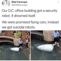 Cars, Office, and MeIRL: Bilal Farooqui  @bilalfarooqui  Our D.C. office building got a security  robot. It drowned itself.  We were promised flying cars, instead  we got suicidal robots. meirl