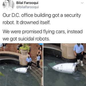 Cars, Dank, and Memes: Bilal Farooqui  @bilalfarooqui  Our D.C. office building got a security  robot. It drowned itself.  We were promised flying cars, instead  we got suicidal robots. meirl by blueberrybrown FOLLOW HERE 4 MORE MEMES.