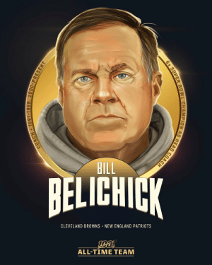 Bill Belichick, Cleveland Browns, and England: BILL  BELICHICK  CLEVELAND BROWNS NEW ENGLAND PATRIOTS  ALL-TIΜΕ ΤEAΜ  COACH 1991-1995, 2000-PRESENT  6x SUPER BOWL CHAMPION AS HEAD COACH Bill Belichick is one of the 10 coaches selected to the #NFL100 All-Time Team!  🏈6 Super Bowl wins as head coach 🏈19 straight winning seasons with @Patriots 🏈270 career regular season wins (3rd all-time) https://t.co/sKB8HkvcfG