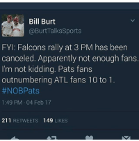 Memes, Apparently Not, and 🤖: Bill Burt  Burt Talks Sports  FYI: Falcons rally at 3 PM has been  canceled. Apparently not enough fans.  I'm not kidding. Pats fans  outnumbering ATL fans 10 to 1  #NOBPats  1:49 PM 04 Feb 17  211  RETWEETS 149  LIKES Nooooo 😂