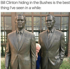 Bill Clinton, Memes, and Best: Bill Clinton hiding in the Bushes is the best  thing I've seen in a while The Bushes via /r/memes https://ift.tt/2vv7Gki