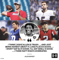 All-Pro trash talk from Jalen Ramsey 😂: BILL  JAGS  -66  ITHINK [JOSH]ALLENIS TRASH.... AND JUST  BEING HONEST ABOUT IT, [JOE] FLACCO SUCKS....  IWON'T SAY ELI'S GOOD. I'LL SAY ODELL'S GOOD.  ITHINKMATT RYAN'S OVERRATED.  B R  JALEN RAMSEY  H/T GQ All-Pro trash talk from Jalen Ramsey 😂