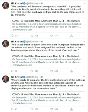 Bill Kristol: 'Its Not Only that He Didn't Help― TRUMP Was an OBSTACLE to Our Response... an OBSTACLE to Citizens Behaving Responsibly... to Governors... to the Private Sector... to Testing...': Bill Kristol: 'Its Not Only that He Didn't Help― TRUMP Was an OBSTACLE to Our Response... an OBSTACLE to Citizens Behaving Responsibly... to Governors... to the Private Sector... to Testing...'
