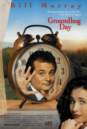 """Children, Life, and Music: Bill M urray  y  He's having the day of his life...  over and over again.  Groundhog  Day  2  10  3  4  COLUMBIA PICTURES PRESENTS  ATREVOR ALBERT PRODUCTION A HAROLD RAMIS FILM BILL MURRAY ANDIE MACDOWELL  """"GROUNDHOG DAY"""" CHRIS ELLIOTT GEORGE FENTON E PEMBROKE J. HERRING  JOHN BAILEY, A.S.C  MUSIC  DAVID NICHOLS  DIRECTOR OF  PHOTOGRAPHY  PRODUCTION  DESIGNER  C. O. ERICKSON  EXECUTIVE  PRODUCER  DANNY RUBIN  SCREENPLAY  STORY  BY  DANNY RUBIN AND HAROLD RAMIS  COLUMBIA  OUCED TREVOR ALBERT AND HAROLD RAMIS PÍCTURES  PG PARENTAL GUIDANCE SUGGESTED  HAROLD RAMIS  DIRECTED  BY  D DOLEY STEED  SOME MATERIAL MAY NOT BE SUITABLE FDR CHILDREN  A COLUMBIA PICTURES RELEASE  PRINTED IN USA  NSS 030013 In the film 'Groundhog Day', Bill appears to be trapped in a time loop, thus implying that Bill appears to be trapped in a time loop, thus implying that Bill appears to be trapped in a time loop, thu-"""