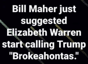 "😂😂😂: Bill Maher just  suggested  Elizabeth Warren  start calling Trump  ""Brokeahontas.' 😂😂😂"