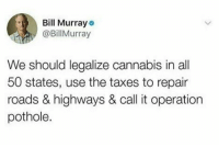 Where do I sign? https://t.co/CvT9q1rPtm: Bill Murray  @BillMurray  We should legalize cannabis in all  50 states, use the taxes to repair  roads & highways & call it operation  pothole. Where do I sign? https://t.co/CvT9q1rPtm