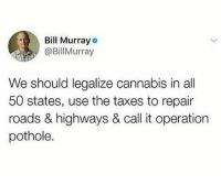 Do y'all agree with BillMurray? 👇🤔 WSHH: Bill Murray  @BillMurray  We should legalize cannabis in all  50 states, use the taxes to repair  roads & highways & call it operation  pothole. Do y'all agree with BillMurray? 👇🤔 WSHH
