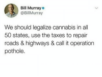 Follow @hemperco if you agree: Bill Murray  @BillMurray  We should legalize cannabis in all  50 states, use the taxes to repair  roads & highways & call it operation  pothole. Follow @hemperco if you agree