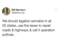 Legalize: Bill Murray  @BillMurray  We should legalize cannabis in all  50 states, use the taxes to repair  roads & highways & call it operation  pothole.