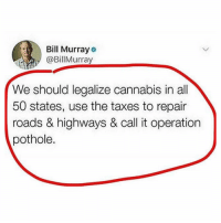 @TOPTREE was rated 1 stoner page by Seth Rogan 🔥: Bill Murray  @BillMurray  We should legalize cannabis in all  50 states, use the taxes to repair  roads & highways & call it operation  pothole. @TOPTREE was rated 1 stoner page by Seth Rogan 🔥