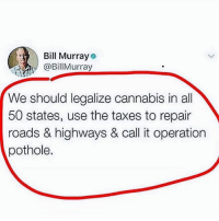 Not a bad idea..🤔😂: Bill Murray  @BillMurray  We should legalize cannabis in all  50 states, use the taxes to repair  roads & highways & call it operation  pothole. Not a bad idea..🤔😂
