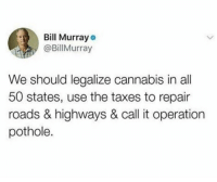 Taxes, Bill Murray, and Cannabis: Bill Murray  @BillMurray  We should legalize cannabis in all  50 states, use the taxes to repair  roads & highways & call it operation  pothole. Its in the hole.