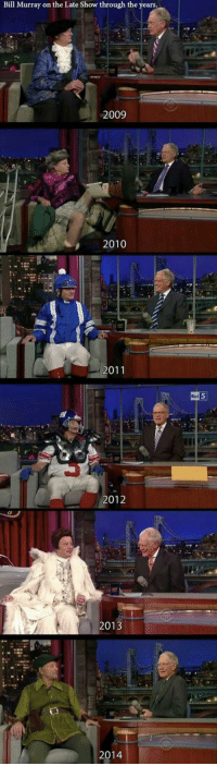 Funny, Animal, and Bill Murray: Bill Murray on the Late Show through the years.  2009  2010  2011  2012  2013  2014  Roi Bill Murray wardrobe through the years on Letterman.